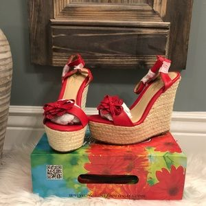 Elegant Footwear's Laysia Flower Wedges